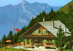Gafadura hut and restaurant above Planken, Liechtenstein