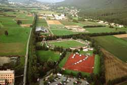 An aerial view of the sports complex in Eschen