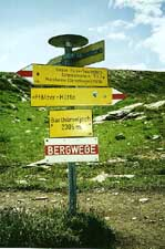 A picture of footpath signposts in Liechtenstein