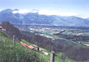 View towards Switzerland and Schaan from Planken